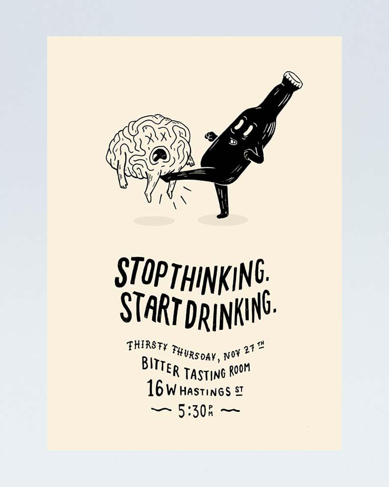 """Stop Thinking Start Drinking"" (Смешной дизайн плаката)"