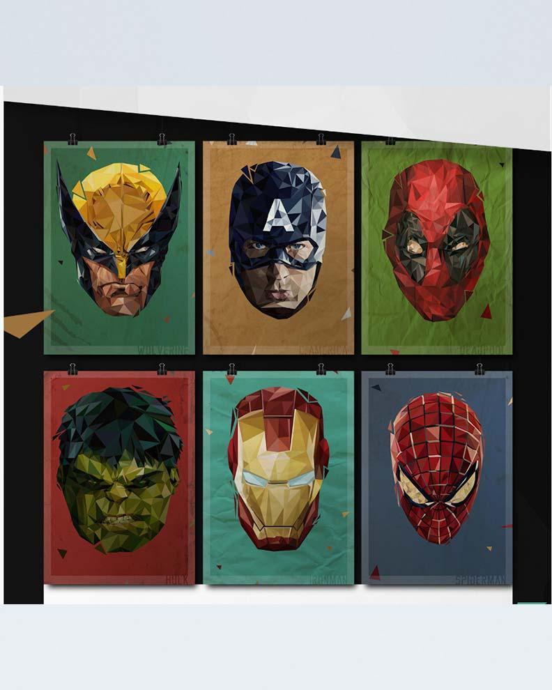 """""""Polygon Marvel Heroes"""" (Дизайн постера с супергероями)"""