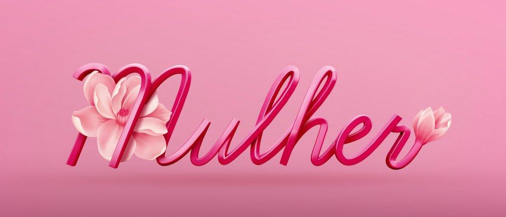 Mulher Розовый 3Д текст на розовом фоне