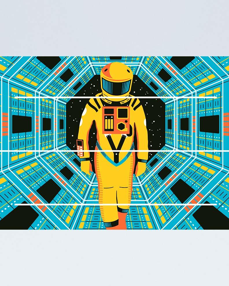 """""""A Space Odyssey"""" (Дизайн постера для фантастического фильма)"""