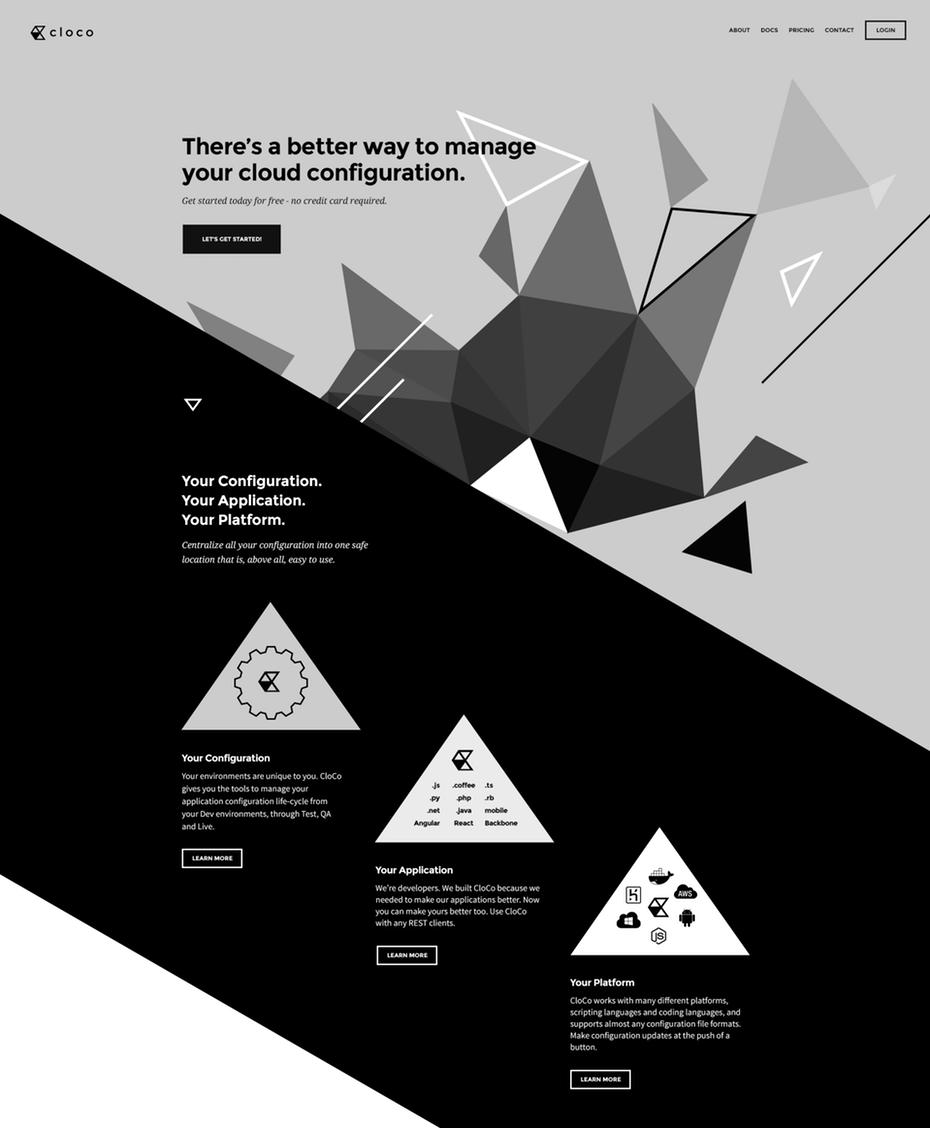 Черно-белый веб-дизайн, асимметрия
