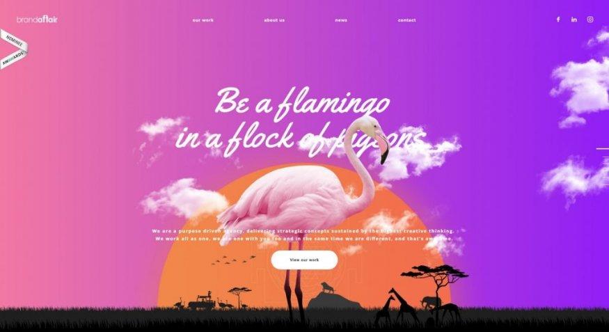 Фламинго и сказочный фон в дизайне сайта
