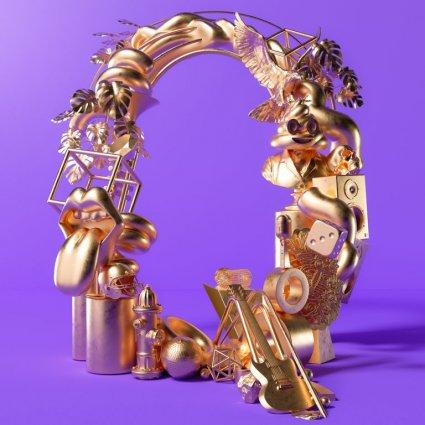 Трехмерное кольцо из различных золотых предметов