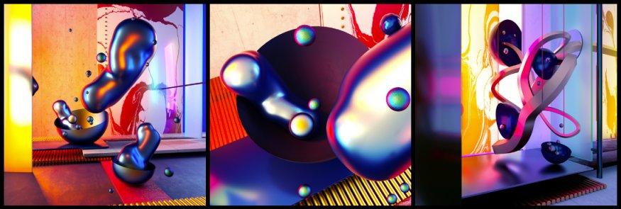 Произвольные фигуры жидкостей в антигравитации с металлическим блеском