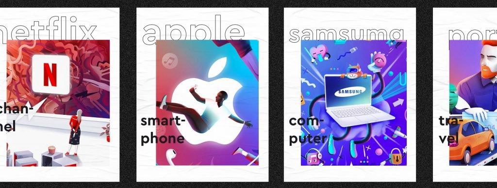 Иллюстрации с логотипами мировых брендов в ярких цветах