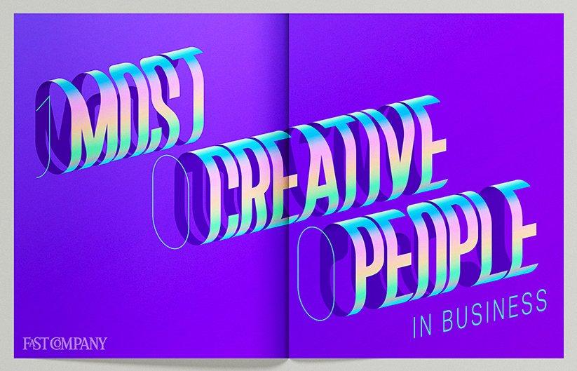 Фиолетовый градиент и 3Д типография