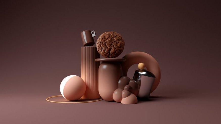 Трехмерный натюрморт в коричневом градиенте