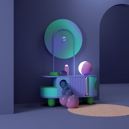 Фиолетовый дизайн интерьера в 3D