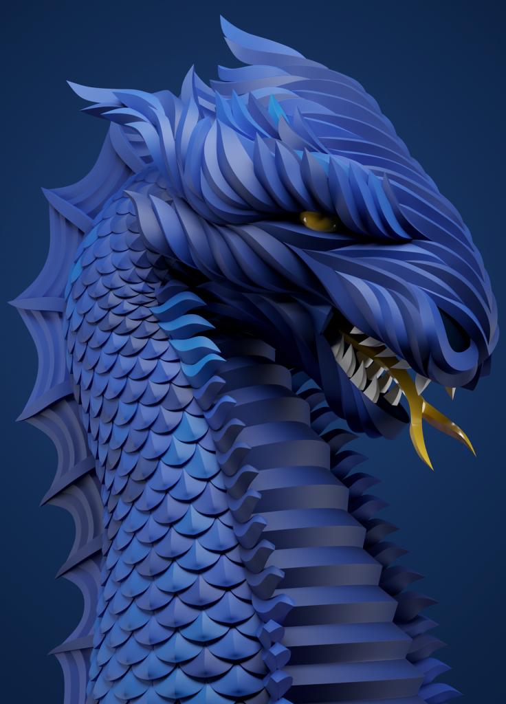 Синий дракон от Максима Шкрета