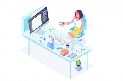 Девушка за столом – персонал компании в изометричном изображении