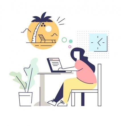 Легкая картинка девушка за рабочим столом