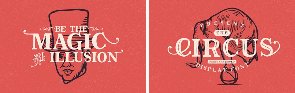 Цирковые изображения и шрифт