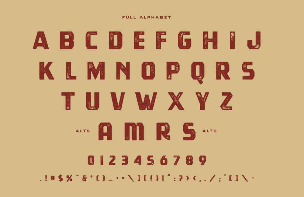 Буквы шрифта Tradesmith