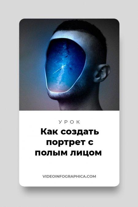 Как создать сюрреалистический портрет с полым космическим лицом в Adobe Photoshop