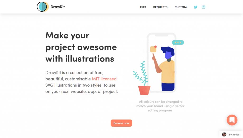 Веб-сайт сервиса DrawKit