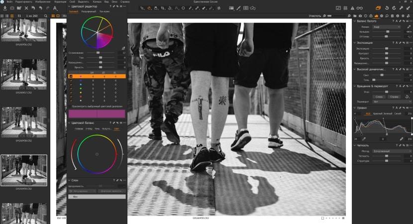 Вариант расположения окон Capture One Pro 12