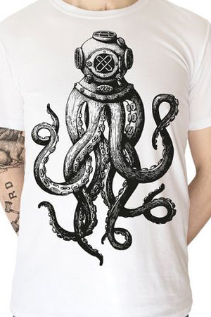 Черно-белый осьминог на одежде