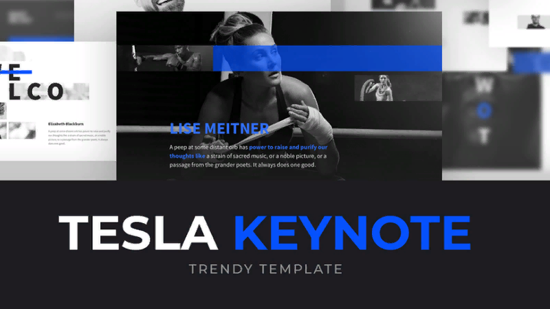 "Trending powerpoint template to download ""Tesla"""