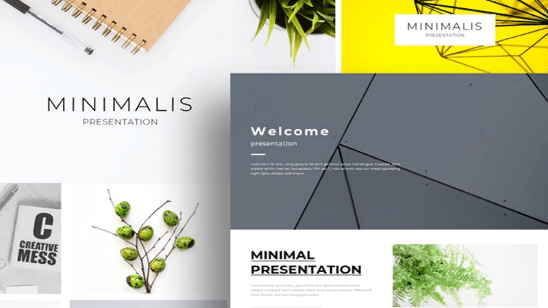 Minimal Creative template with slides for Powerpoint
