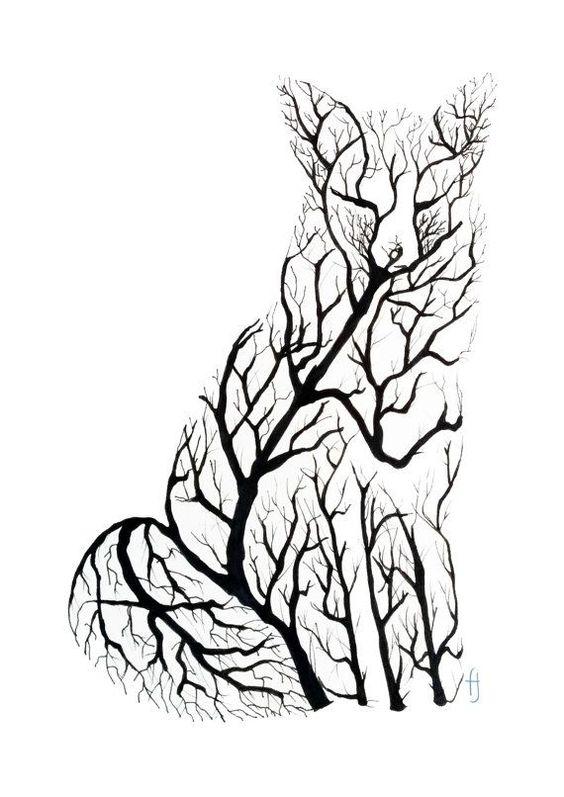 Рисунок лисы чернилами