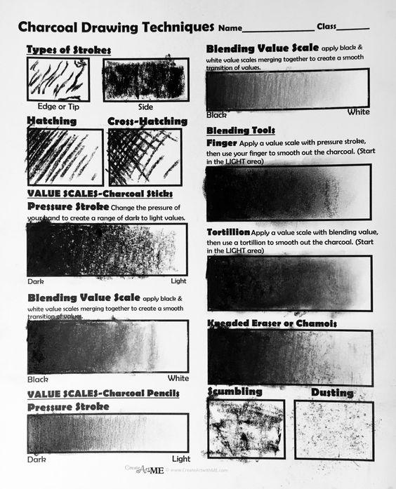 Техники рисования углем