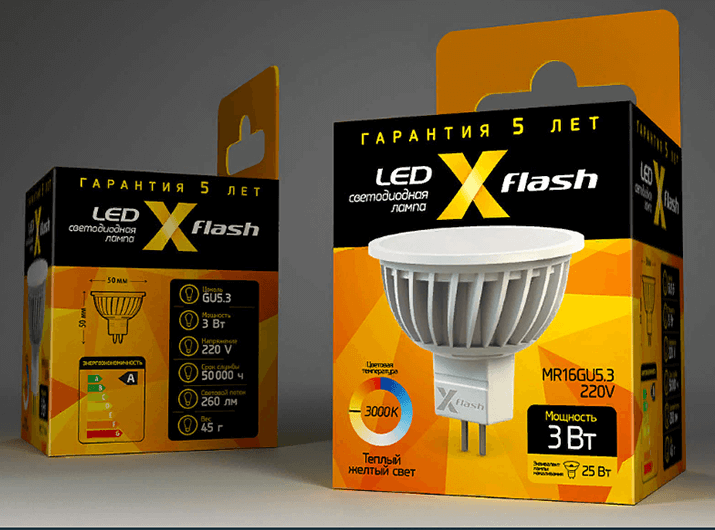 Упаковка ЛЕД ламп