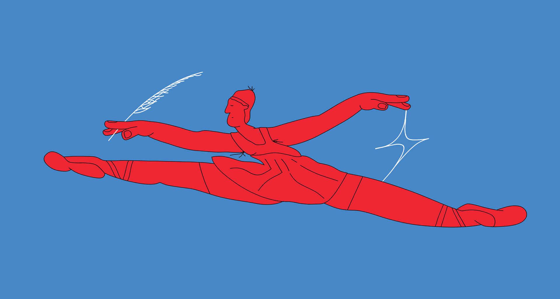 красная мадам в прыжке на синем фоне