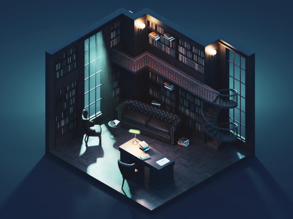Интерьер создан в программе Blender. Автор Roman Klčo