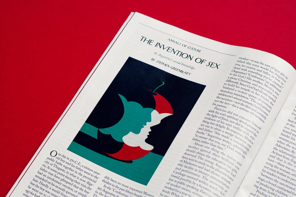 разворот журнала с иллюстрацией Malika Favre с яблоком