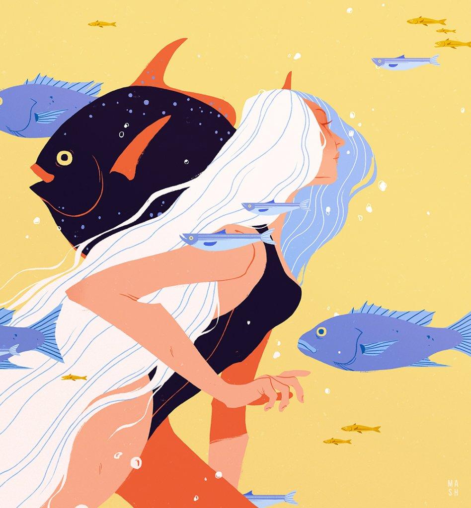женщина под водой среди рыб