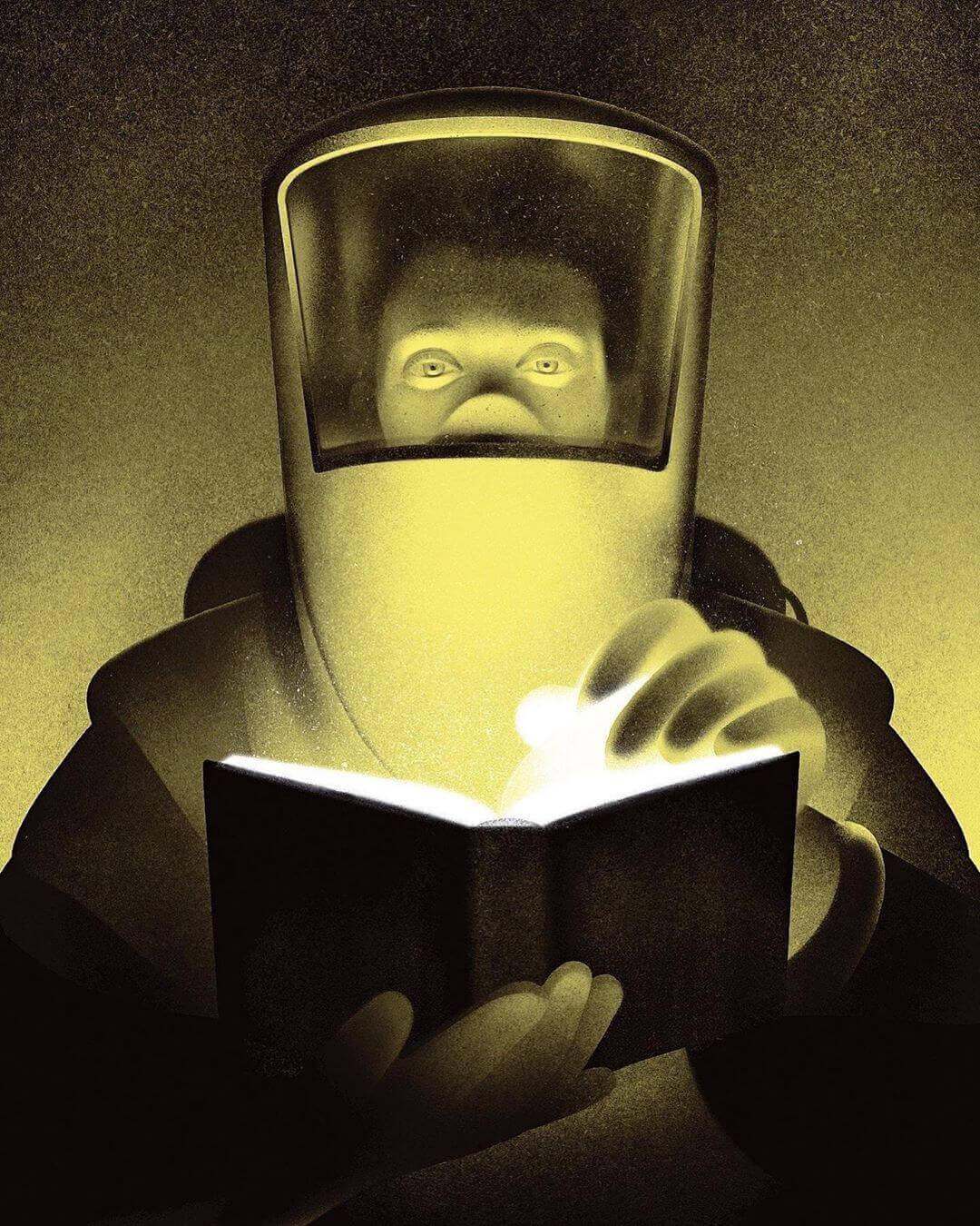 человек в защитном скафандре смотрит в книгу из которой идет свет