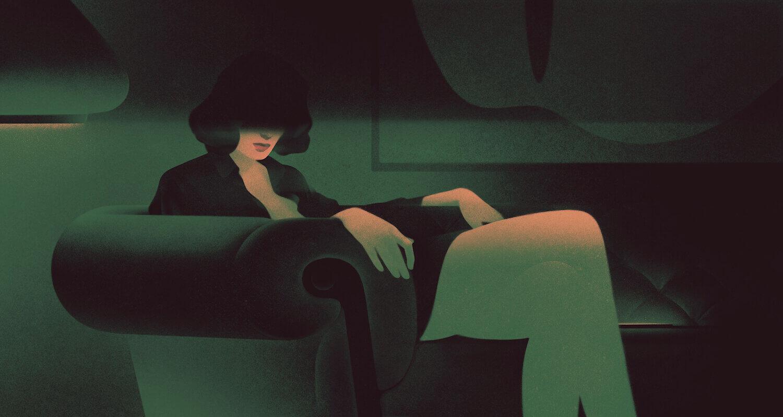 Женщина сиди в кресле, лице её находиться в тени. Автор иллюстрации Karolis Strautniekas