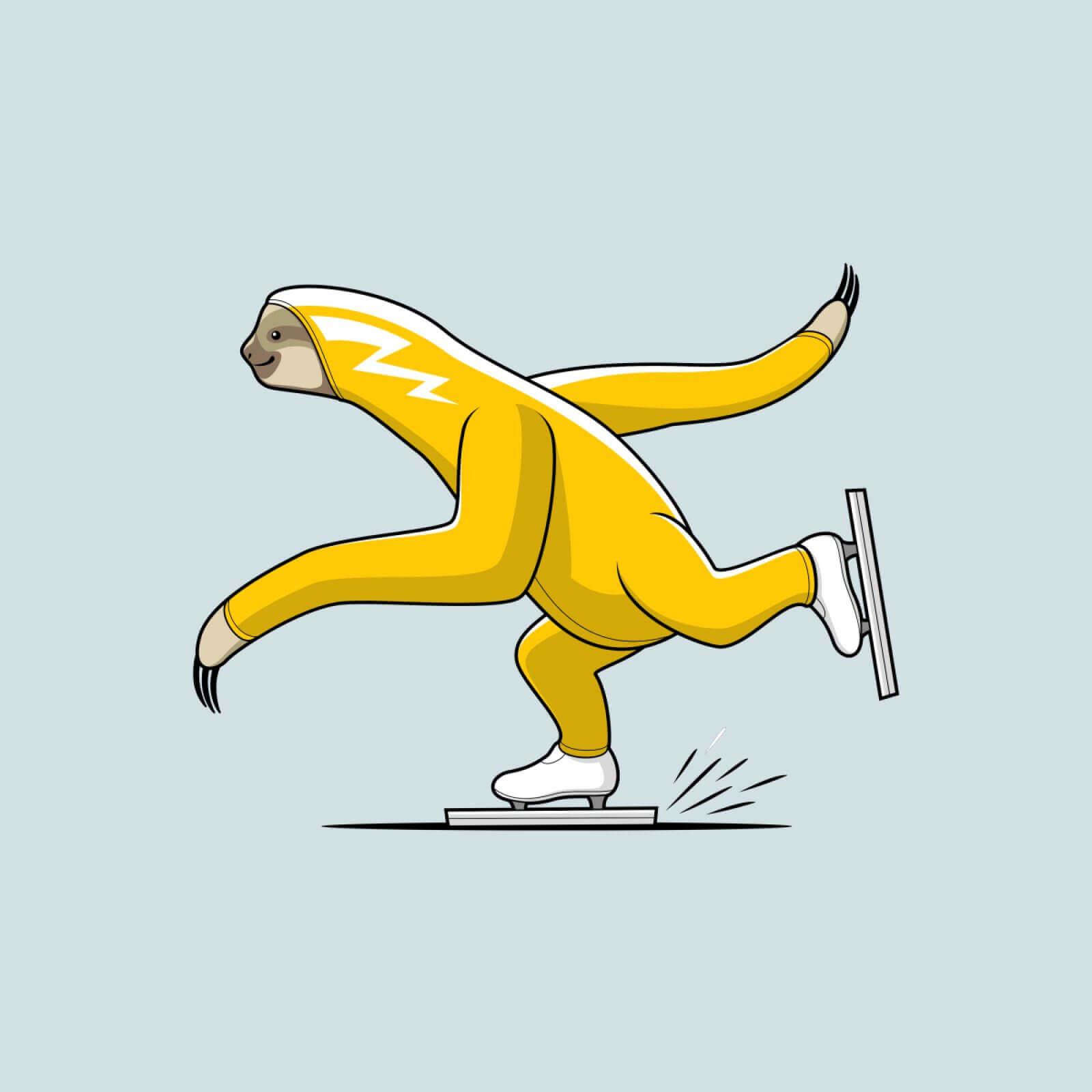 желтый ленивец на коньках