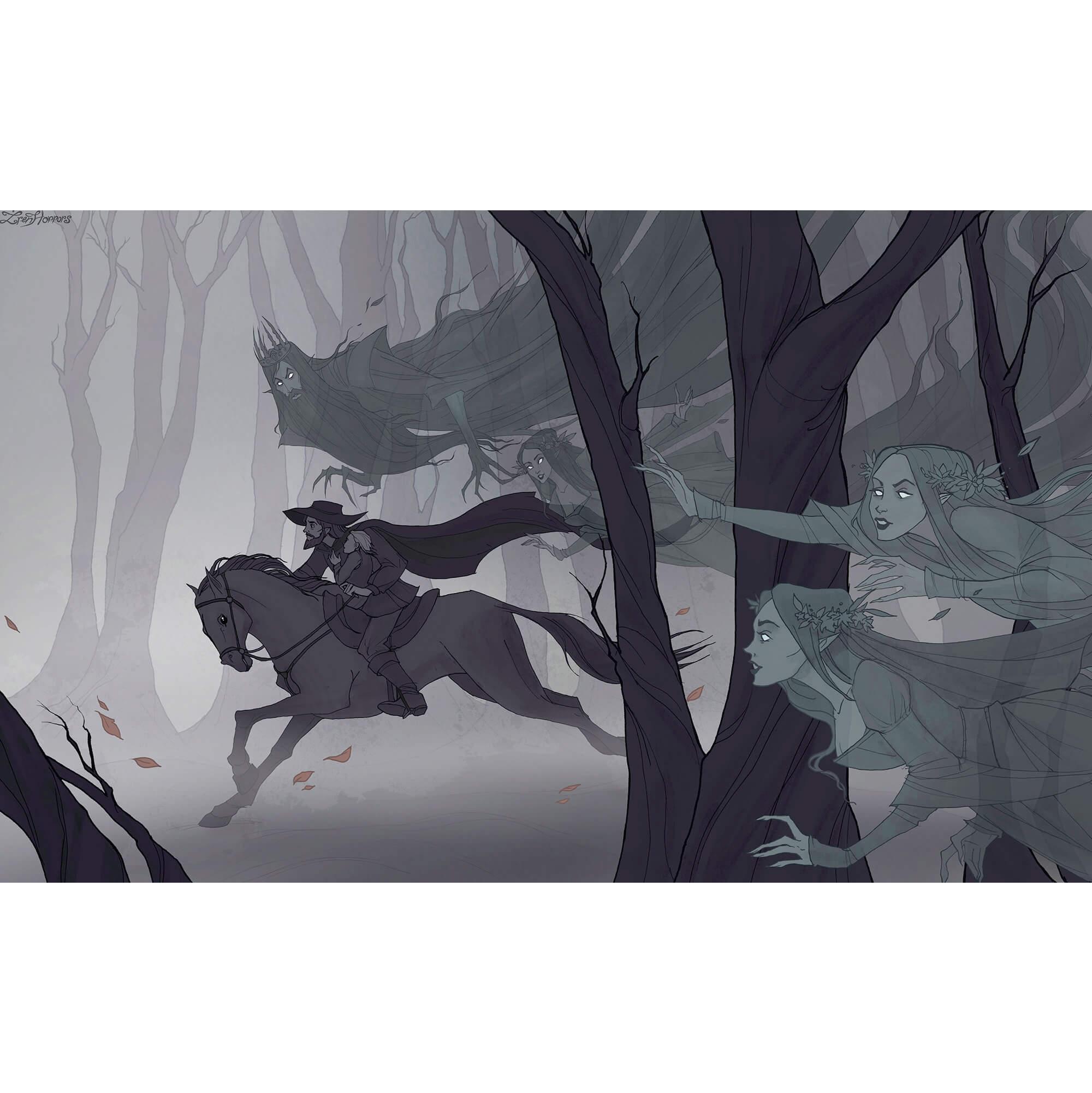 мужчина на коне скачет через лес, его преследует призраки