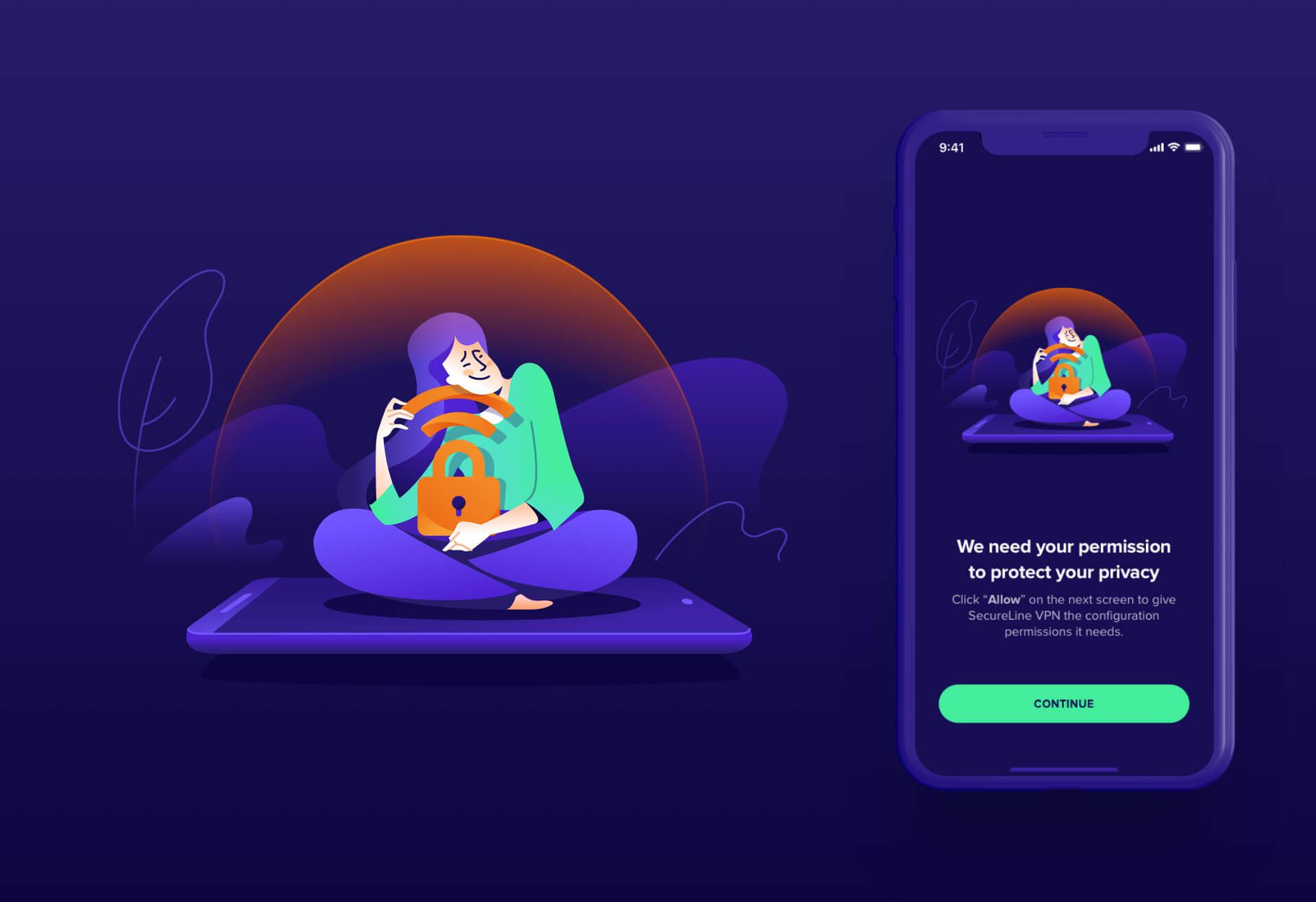 Женщина c фиолетовыми волосами и штанами обнимает символ замка и WiFI сидя на телефоне