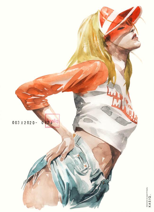 женщина демонстрирующая одежду: джинсовые шорты, короткую футболку и прозрачную красную кепку. иллюстрация исполнена акварелью