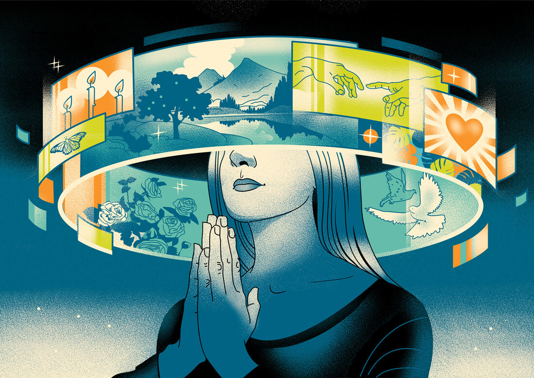 женщина молиться вокруг экранов