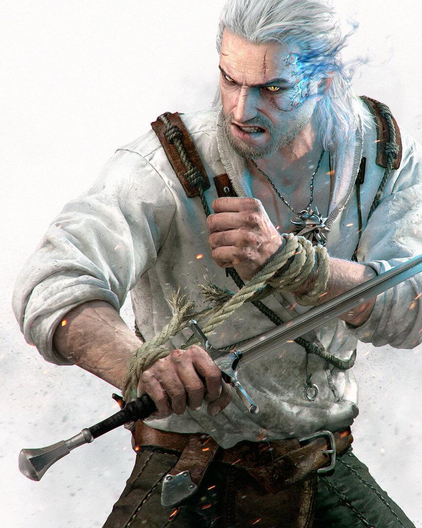 Геральт из Ведьмака 3 стоит в боевой стойке с мечем