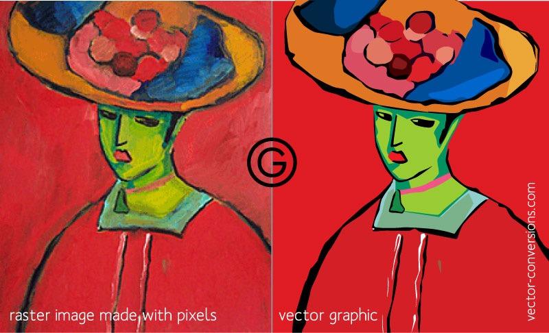 Картина с растровой графикой переведена в векторную графику.