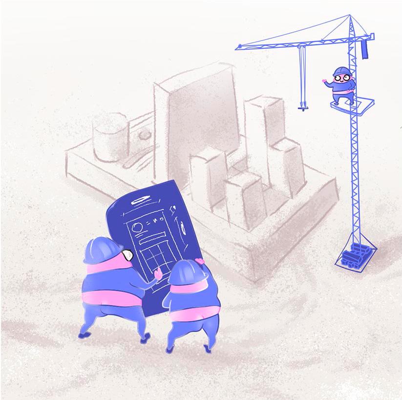 Карикатурное изображение мобильных разработчиков