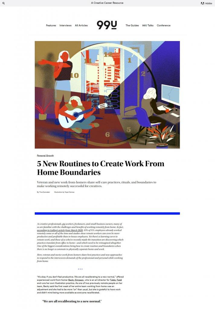 Страница сайта 99u с иллюстрацией и текстом. Абстрактный циферблат с особью женского пола, которая делает зарядку, играет на гитаре и работает.