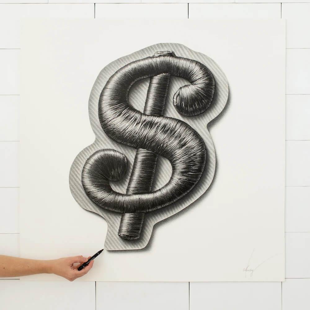 нарисованный символ доллара