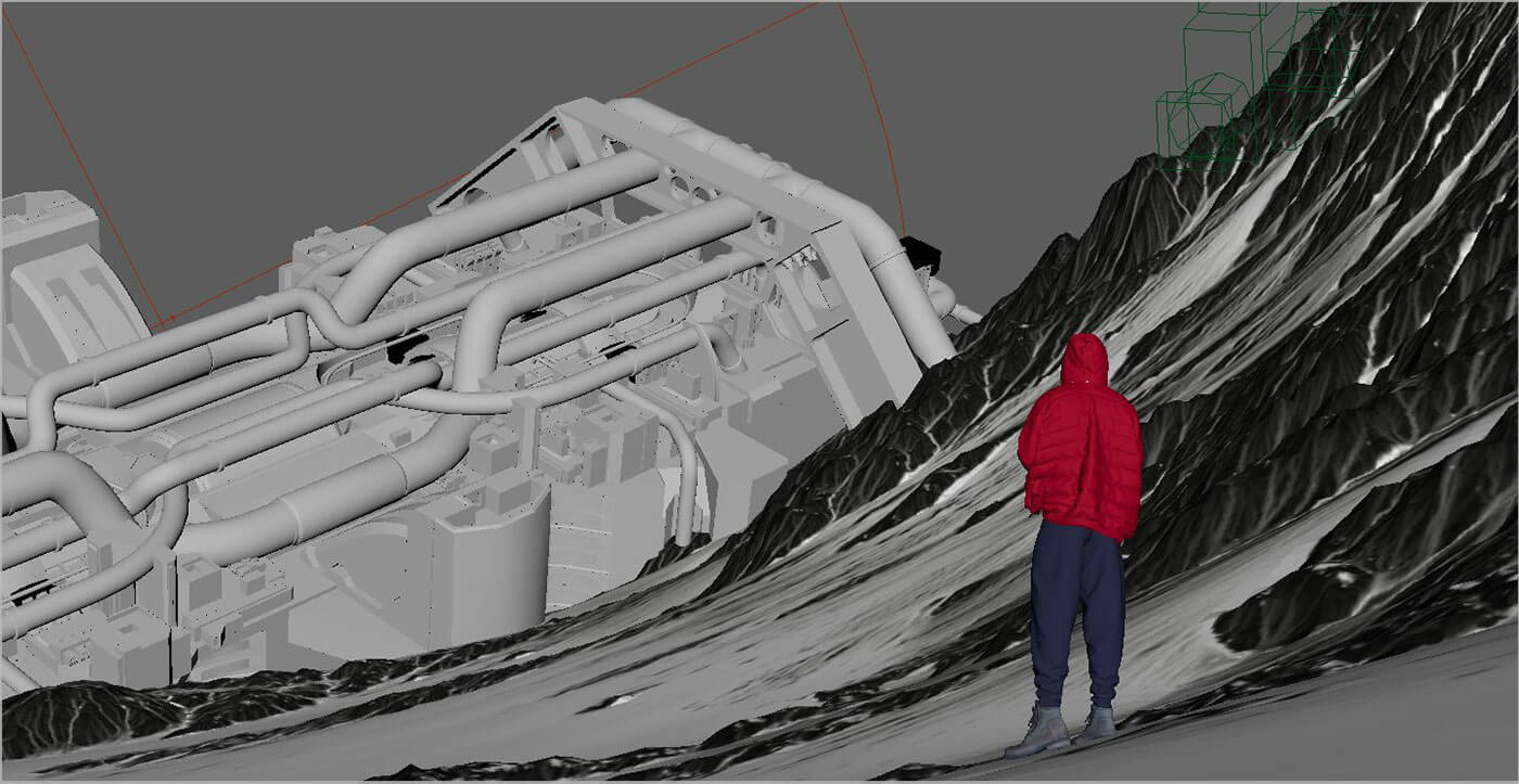 Силуэт человека в красной куртке и синих штанах смотрит на упавший космический корабль. 3д модели выставлены в программе по моделированию 3д