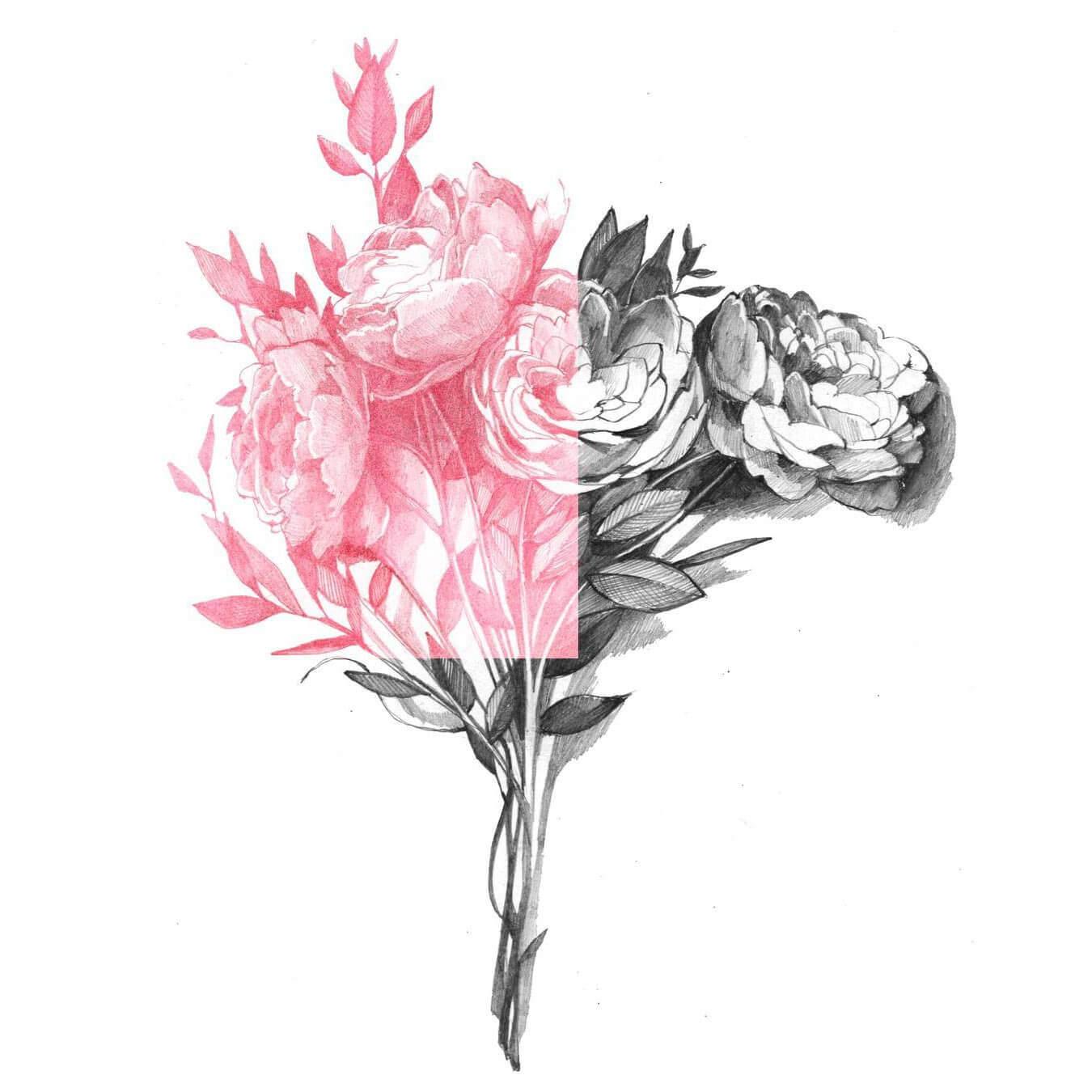 черно-белый букет цветов