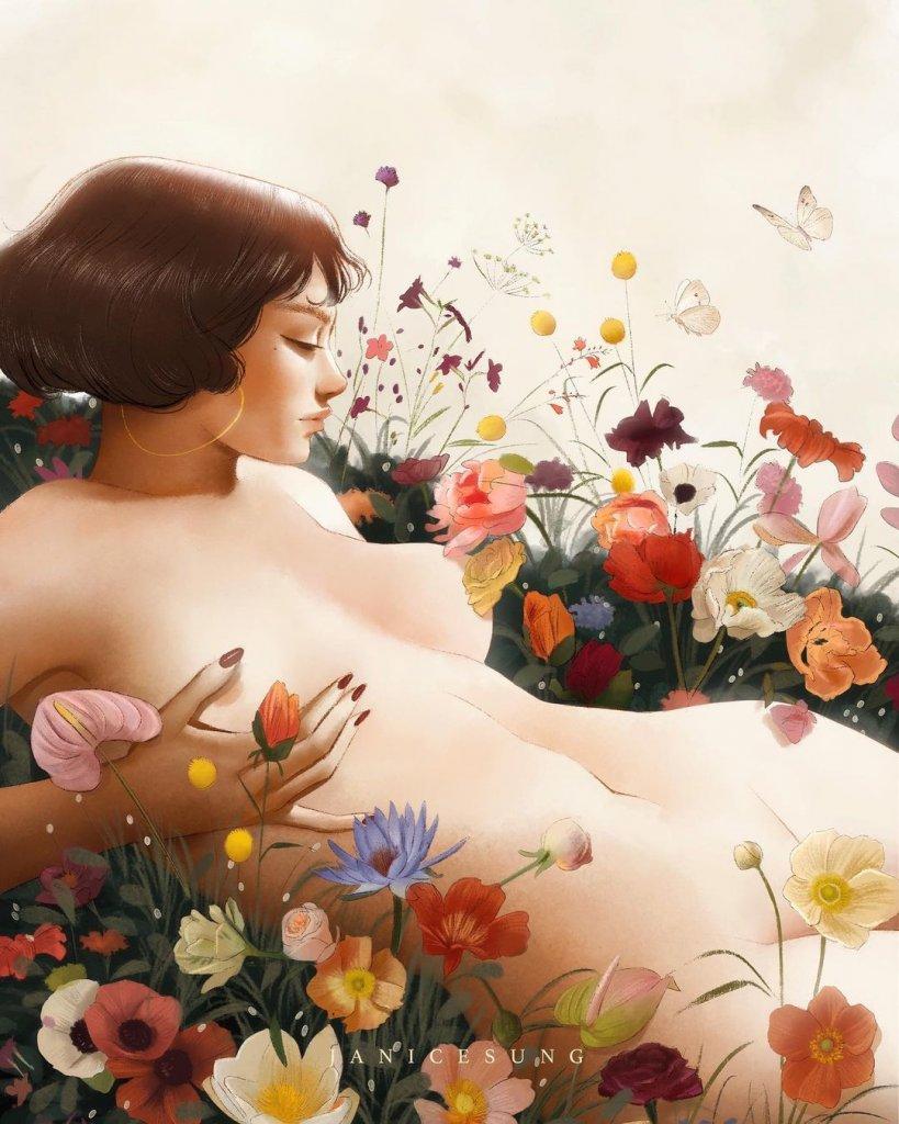 девушка лежащая среди растущих цветов