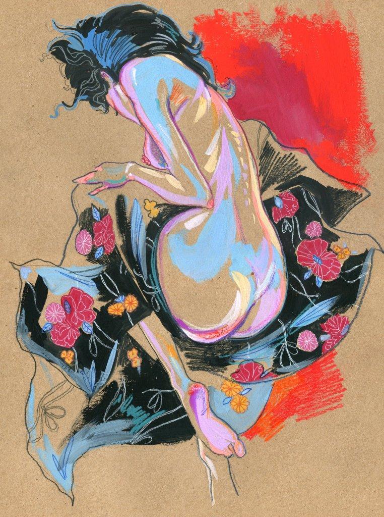 девушка в тканях с цветами