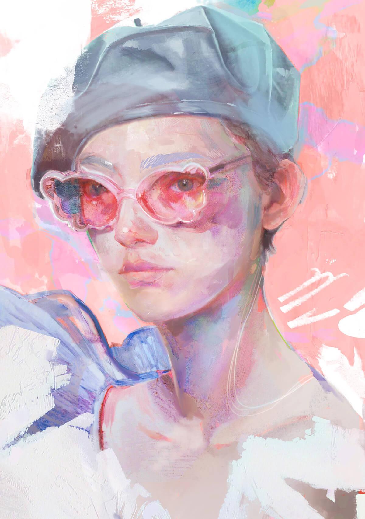 портрет девушки в очках и берете
