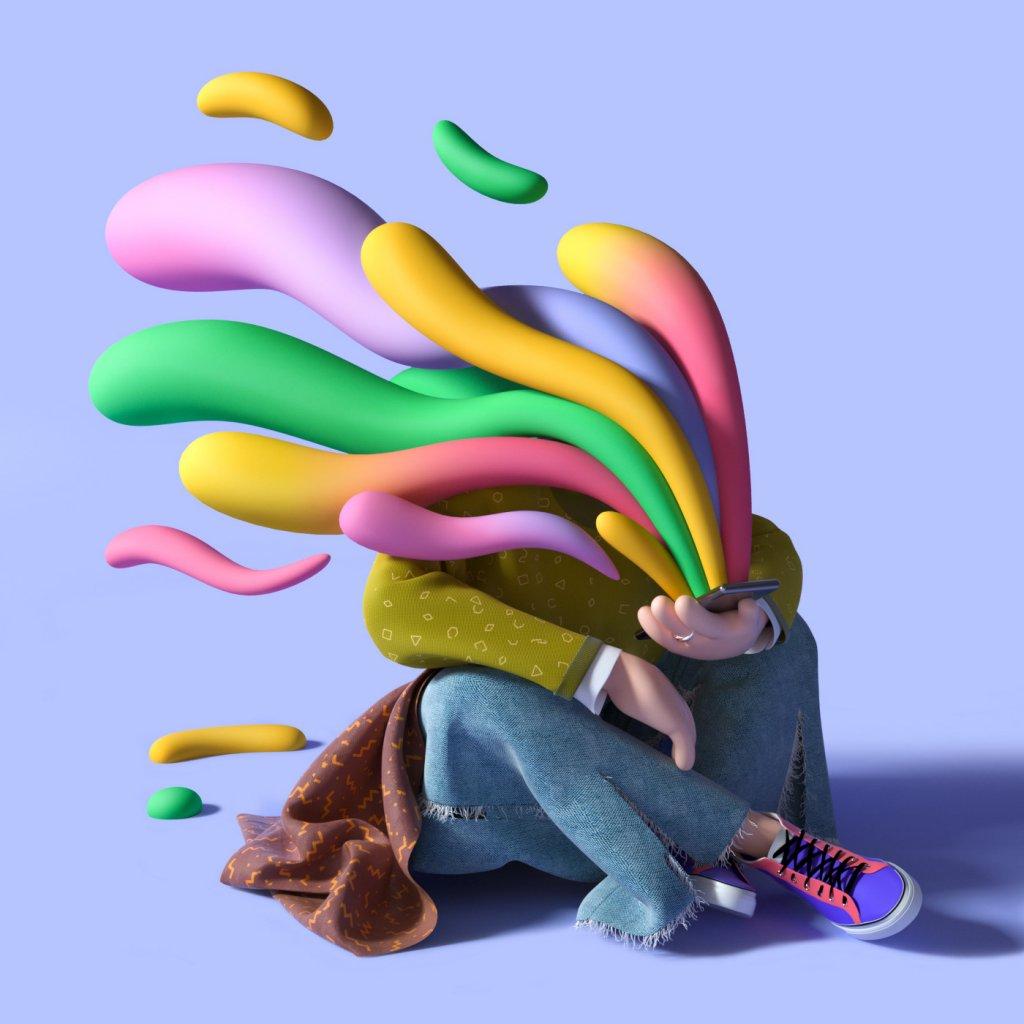 сидящий персонаж смотрит телефон с которого вылетают разноцветные потоки