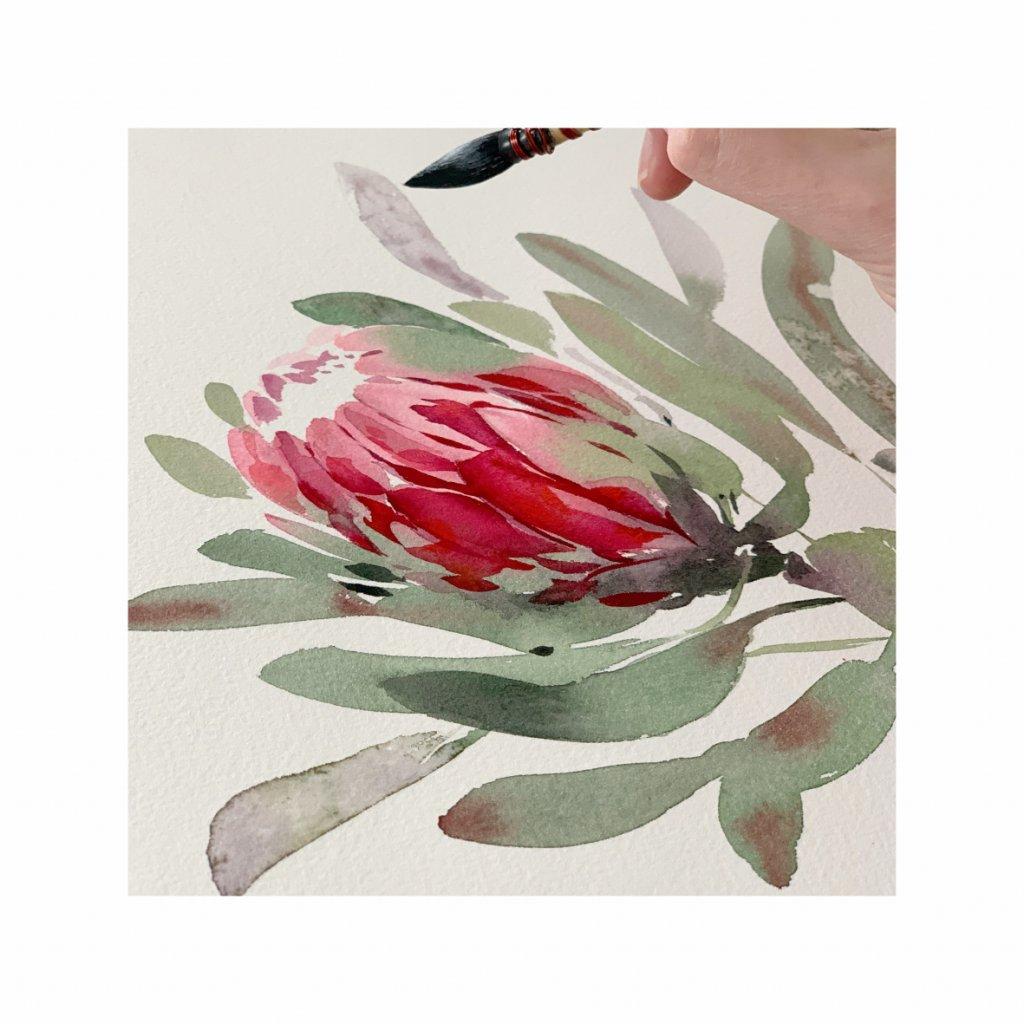 красный цветок нарисованный акварелью