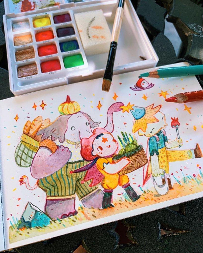 слоник сопровождает девочку
